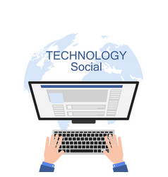 technology social hand working computer earth back vector image