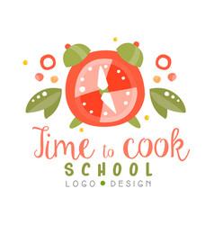 Time to cook school logo design kitchen emblem vector