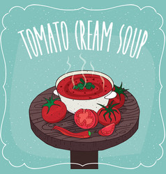 tomato cream soup with fresh vegetables vector image