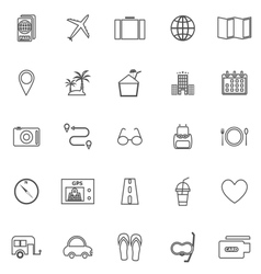 Trip line icons on white background vector image