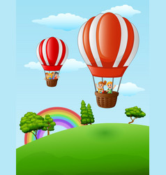 two air balloons flying with happy kids vector image