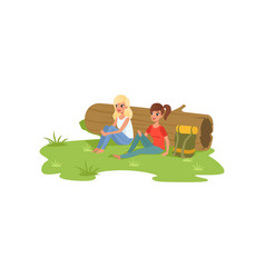 Two girls sitting near the log traveling camping vector