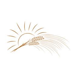 Wheat logo with sun vector