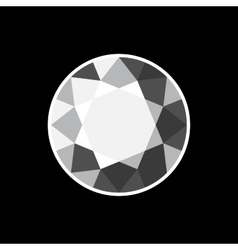 White Diamond Icon on Black Background vector
