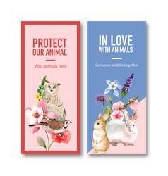 Winter animal flyer design with bid flower vector