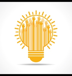 Yellow raised hand in the light-bulb vector