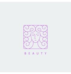 female face logo template vector image