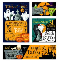 halloween night party banner for invitation design vector image