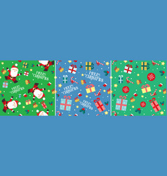 santa claus christmas present seamless pattern set vector image