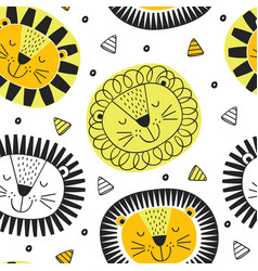seamless pattern with lion in scandinavian style vector image