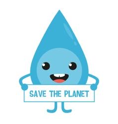 Cartoon water drop character with sign in hands vector image vector image
