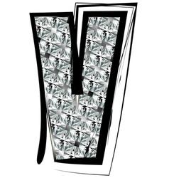 Diamond Font letter V vector image vector image