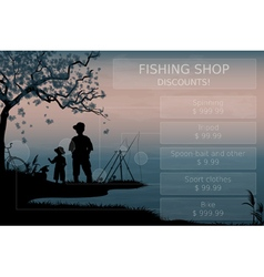 Father and son fishing vector image vector image