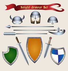 knight armour set vector image