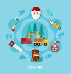 logging flat composition vector image
