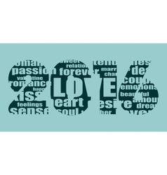 new year number perforated by love words cloud vector image vector image