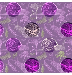 Pattern with clover peas and snails vector image vector image