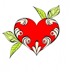 red heart with floral element vector image