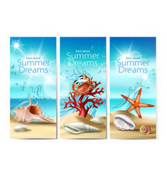 set of banners of a summer vector image