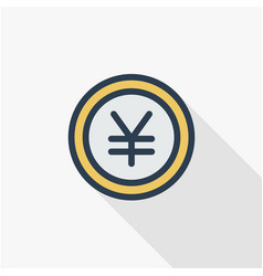 yen coin money finance currency thin line flat vector image vector image