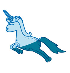 Blue silhouette of cartoon unicorn with stains and vector