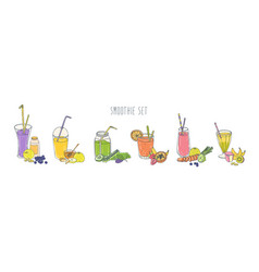 collection of colorful refreshing soft drinks in vector image vector image