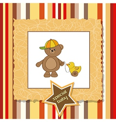 cute greeting card with boy teddy bear vector image vector image