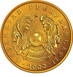 Kazakh money gold coin vector image