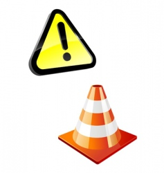 warning sign and traffic cone vector image