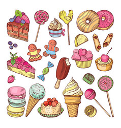 wedding desserts sweets cupcakes and ice cream in vector image