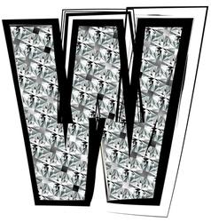 Diamond Font letter W vector image vector image