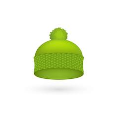 green cold hat trendy season warm wool cap fashion vector image vector image