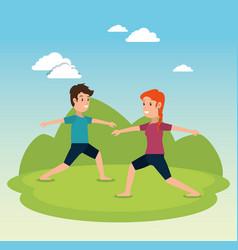healthy lifestyle people doing yoga design vector image