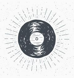 vinyl record vintage label hand drawn sketch vector image vector image