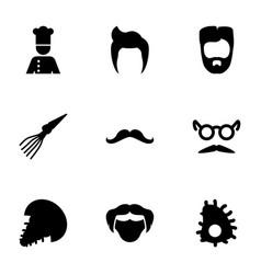 9 mustache icons vector