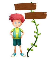 A boy at back a two-plank wooden signage vector