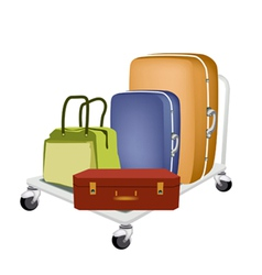 A Hand Truck Loading Luggages and Bag vector