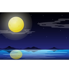 A moonlight scenery vector
