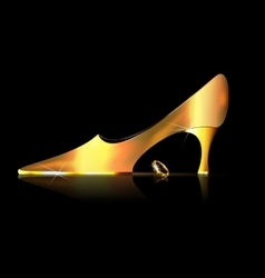 Abstract golden shoe and yellow crystal vector