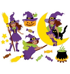 African American Halloween Witches Set vector image
