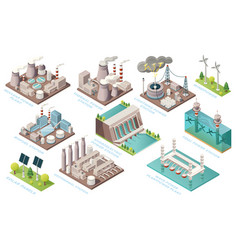 alternative energy and power production plants vector image