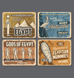 ancient egypt gods pharaoh pyramids hieroglyphs vector image
