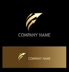 arrow gold speed logo vector image