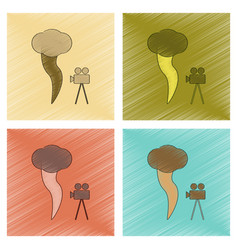 Assembly flat shading style icon tornado camera vector