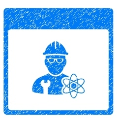 Atomic Engineer Calendar Page Grainy Texture Icon vector image