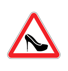 attention woman red prohibitory road sign womens vector image