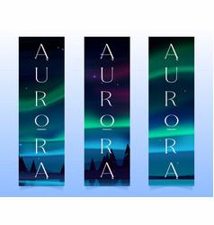 Aurora borealis northern lights on bookmarks vector
