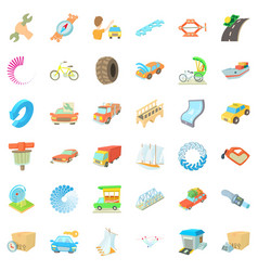 Auto service icons set cartoon style vector