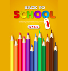 back to school sale poster with 3d realistic vector image