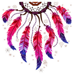 background border with feathers and crystals vector image